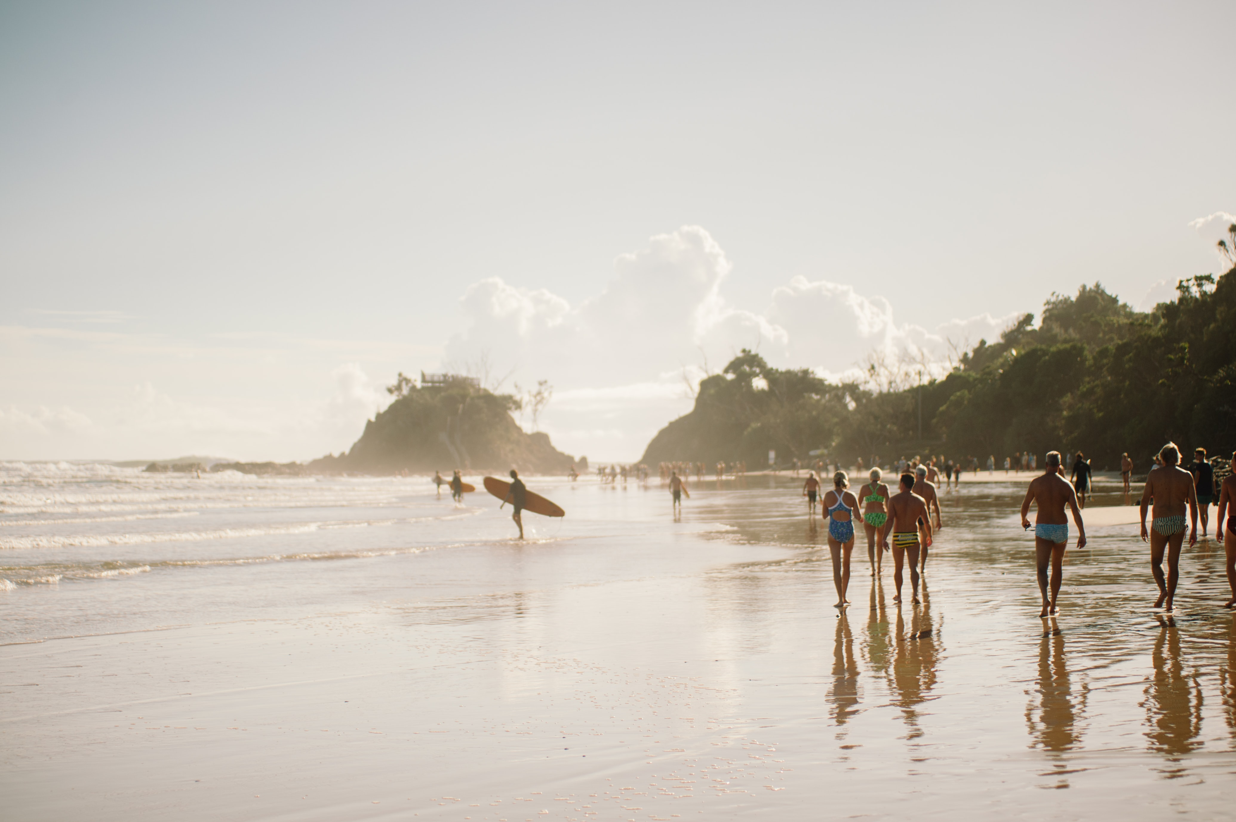 People surfing at Byron Bay Beach New South Wales